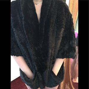 Furry black faux 3/4 sleeve jacket jolt sz. S